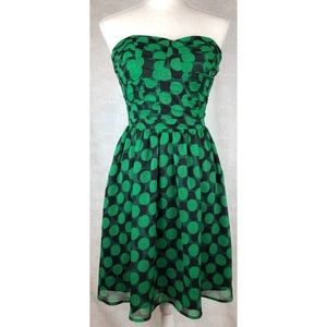 Fynn & Rose Green/Black PolkaDot Strapless Dress.